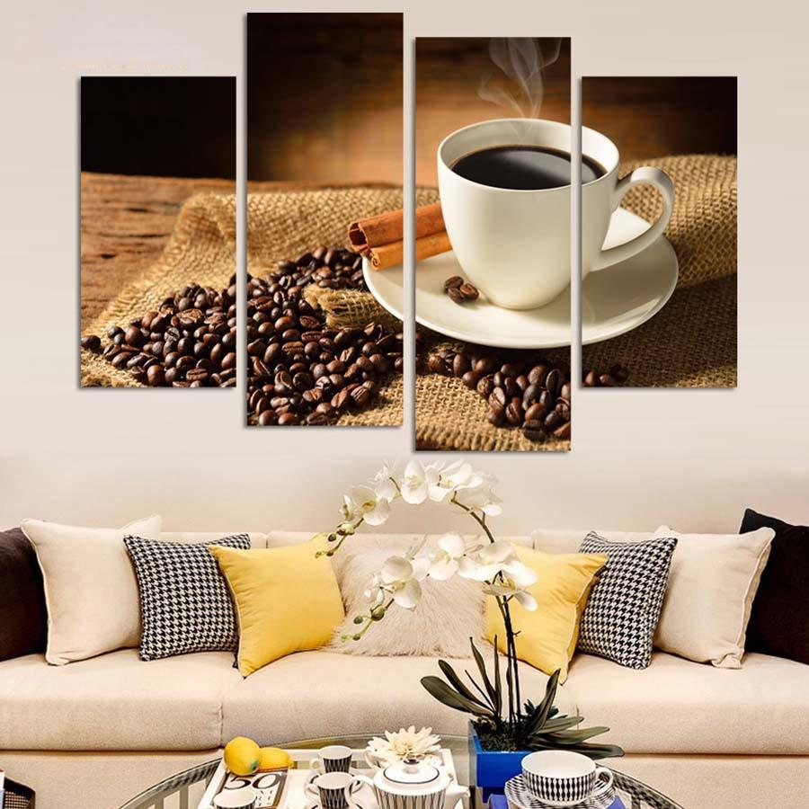 4 Pieces/Set Canvas Painting Coffee And Beans On The Desk Wall Pictures For Kitchen Room Modern Decor Modular Pictures
