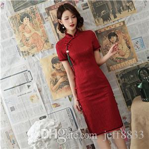 Hersteller Großhandel alten Show Mode verbessert Spitze Cheongsam langen Abschnitt Kurzarm 2019 Frühjahr neue Mädchen Cheongsam Kleid