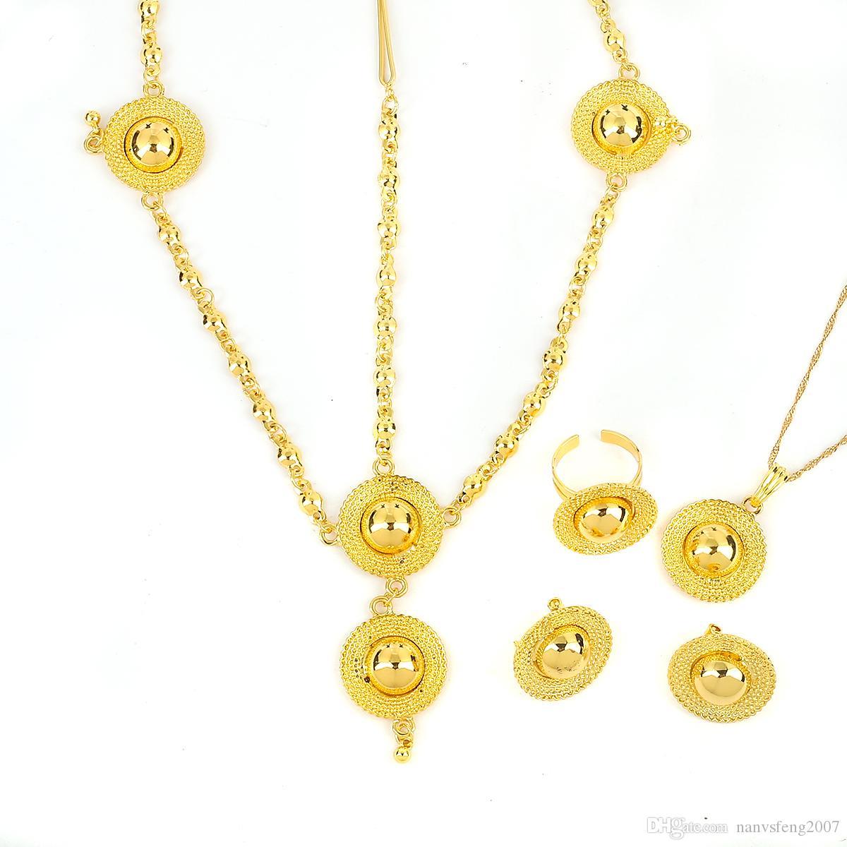 Los mejores sistemas de la joyería del color del oro de Romantical 24K de la marca para el sistema de la joyería de la boda de las mujeres de Eritrea del etíope africano