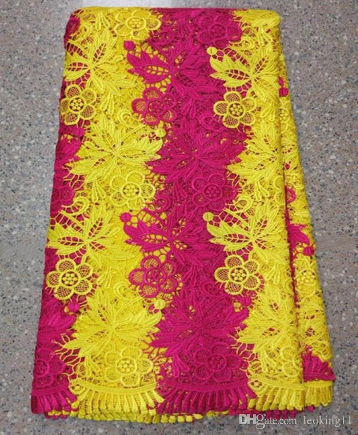5Yards/pc Hot sale fuchsia and yellow flower african water soluble lace embroidery french guipure lace fabric for dress BW61-4