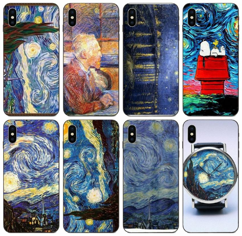 [TongTrade] Cartoon Lovers Sweetheart Vintage Van Gogh Starry Night Case For iPhone 11 Pro Max X XS 6s 5s 5c 5 Galaxy M30 M40 Huawei Y7 Case