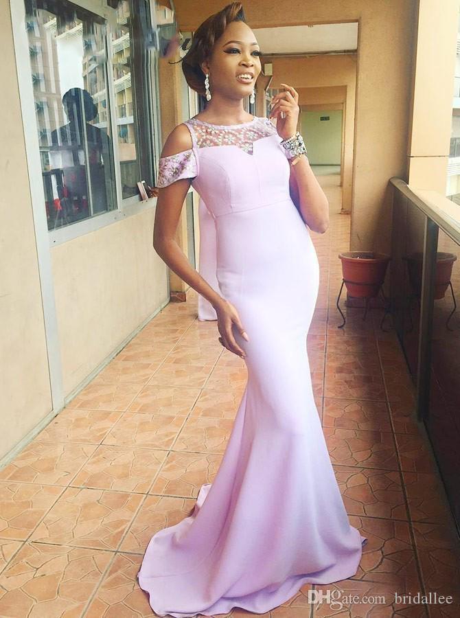 Elegant Long Mermaid Lavender African Bridesmaid Dresses Cap Sleeves Plus Size Crystal Light Purple Wedding Formal Party Dress