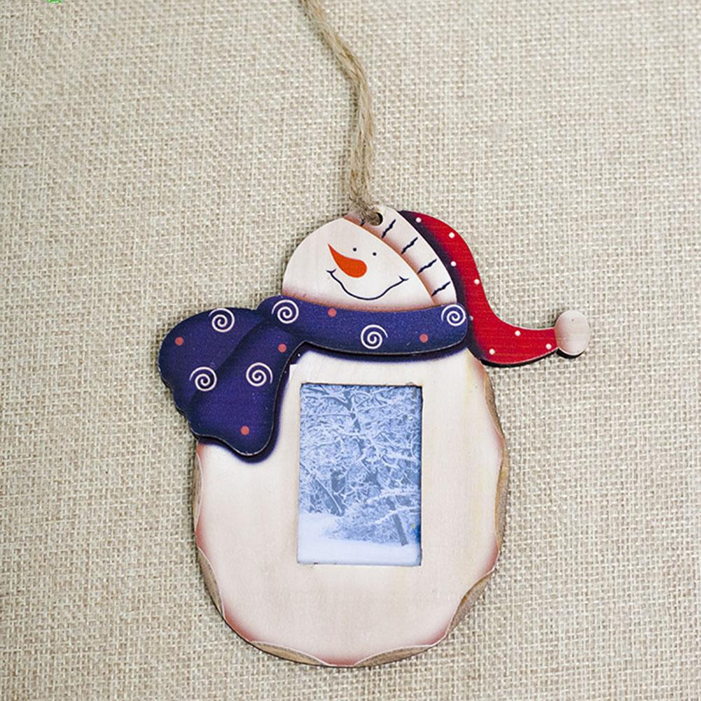 Painted Office Wooden Christmas Pendant Home Party DIY Wall Hanging Shop Window Santa Snowman Tree Ornaments Photo Frame Small