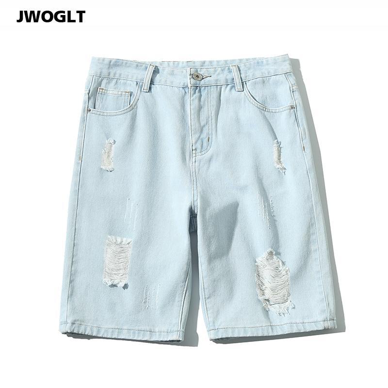 Лето Джинсовый шорты Урожай корейский Повседневный Ripped Hole Harem Mens голеностопного Длина Проблемные рваные короткие джинсы