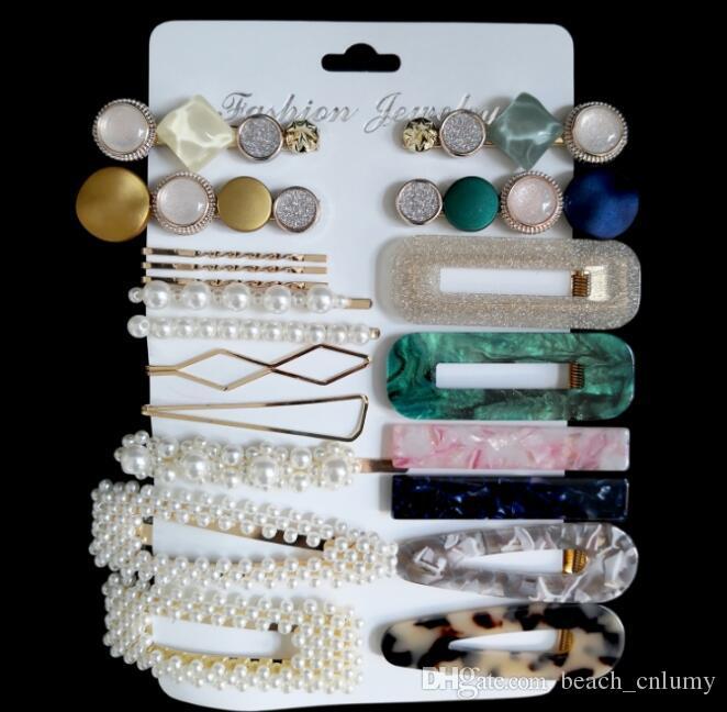 Pearl Hairpin Set Femmes Mode Hairpins Combinaison côté clip acide acrylique cheveux Barrettes Mode Barrettes Coiffe Accessoires Bijoux