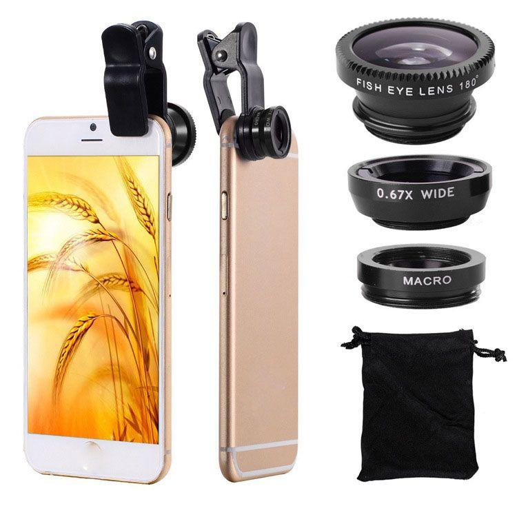 Lente de lente de telefone celular Fisheye Lente de macro de angular larga 3 em 1 clipe universal telefone celular telefone com lente de fisheye para smartphones