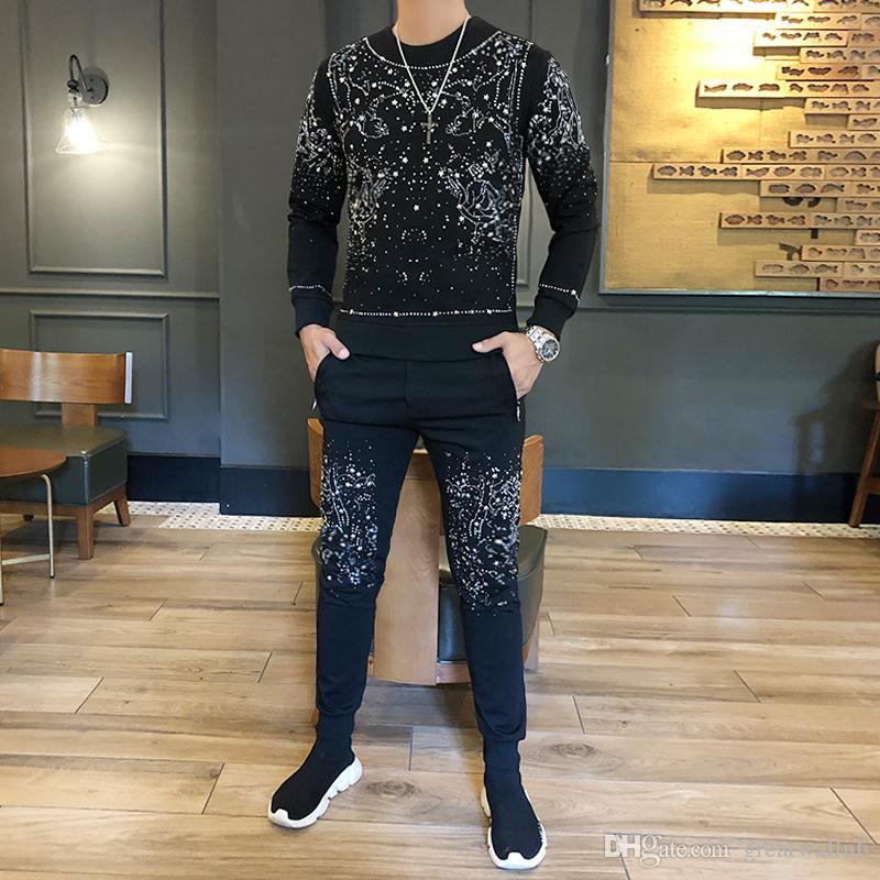 Freeship Mens роскошный досуг черный бисером Galaxy с длинным рукавом футболка с брюками / мода / бедра верхний / стиль трексуитов / азиатский размер