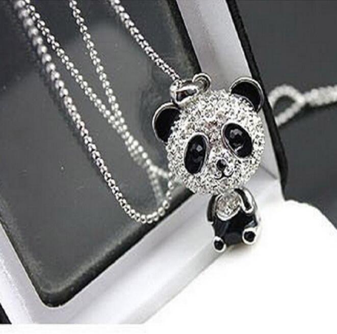 Panda del Rhinestone collar de las mujeres la cadena en movimiento la cabeza de la panda del suéter para el collar del encanto del collar de la mujer GB1517 joyería