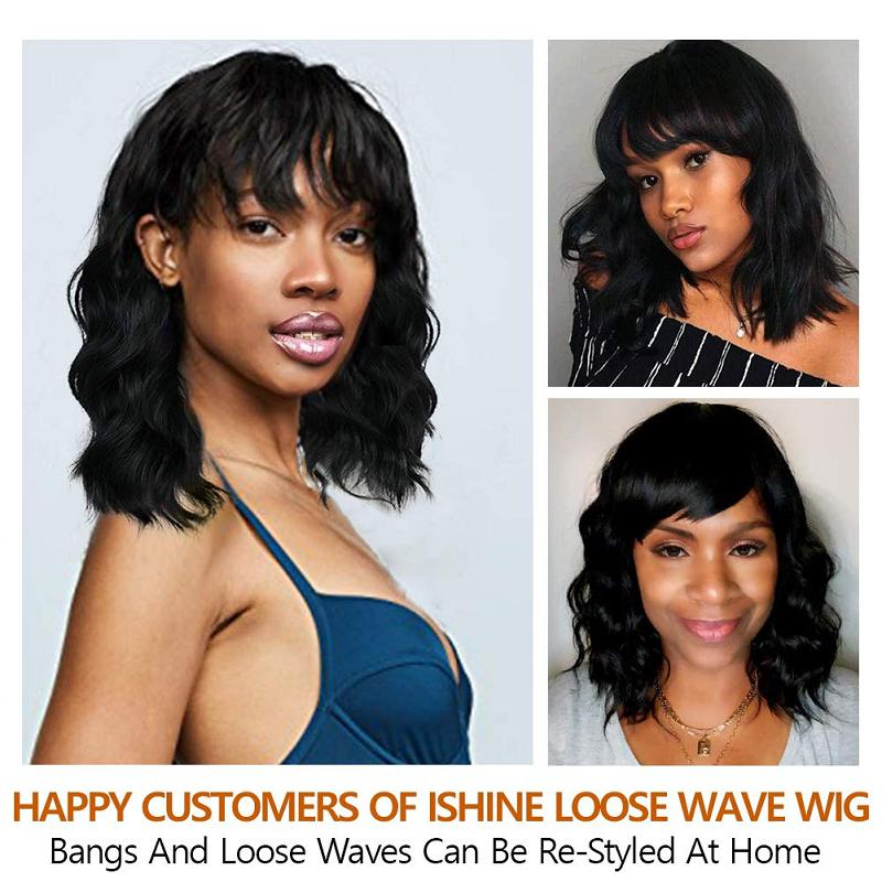 Silk Base Wigs Short Human Hair Wigs Loose Wave Bob Wig With Bangs Silk Top Headspin Pre Plucked Short Wig Remy Bleached Knots