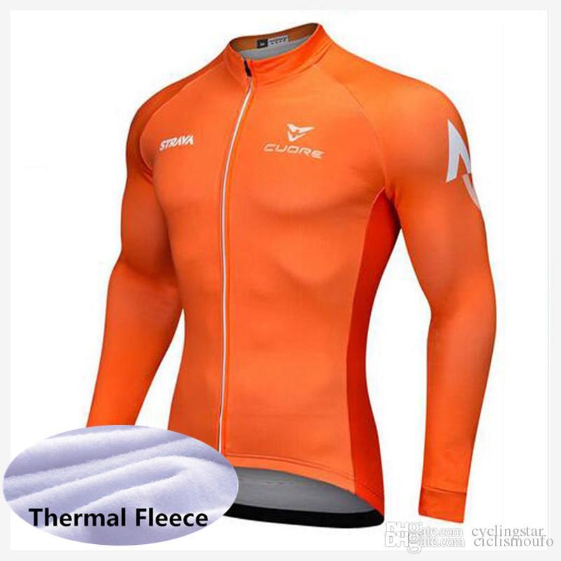 STRAVA equipe 2019 Ciclismo Inverno Térmica do Velo jersey NOVO inverno manter quente Longo Ciclismo Jersey Tops Respirável Personalizado 53144