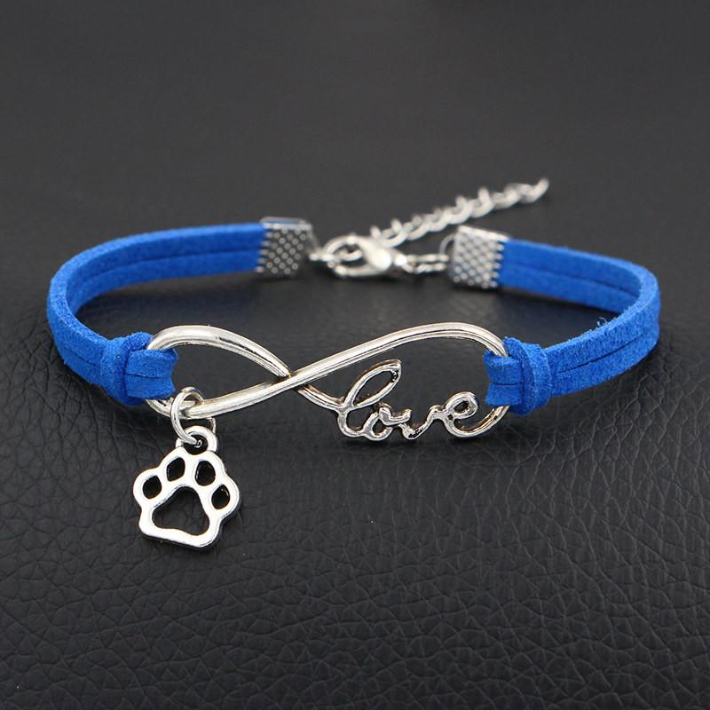 Vintage Royal Blue Leather Suede Charm Bracelet & Bangles Wrap Woven Silver Infinity Love Dog Paw Prints Handmade Gift Jewelry For Women Men