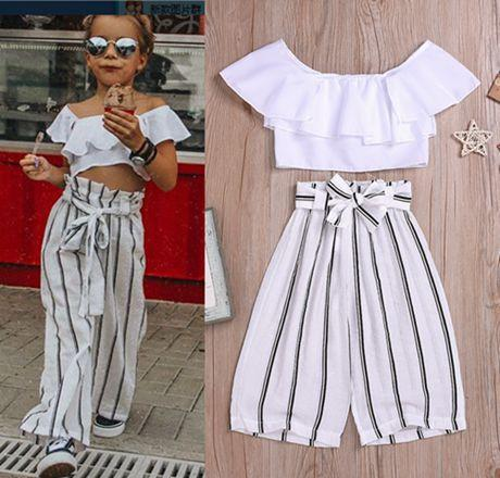 2019 yaz omuz üstleri + çizgili gevşek pantolon kapalı küçük kızlar giyim setleri moda çocuk kıyafetler bebek beyaz gömlek çocuk giyim