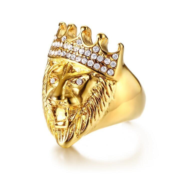 Color oro clásico de acero inoxidable 316L Hombres Punk Hip Hop anillo fresco Lion Head Band joyería del anillo de oro