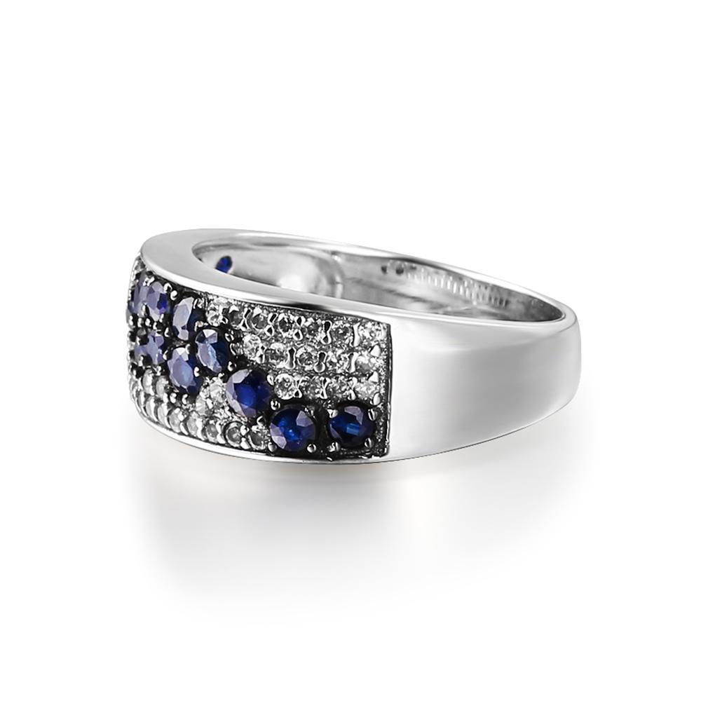 Balletto rotonda naturale pietra preziosa dello zaffiro di nozze anelli a fascia argento 925 monili fini di Fashion-gemma per le donne libera di goccia