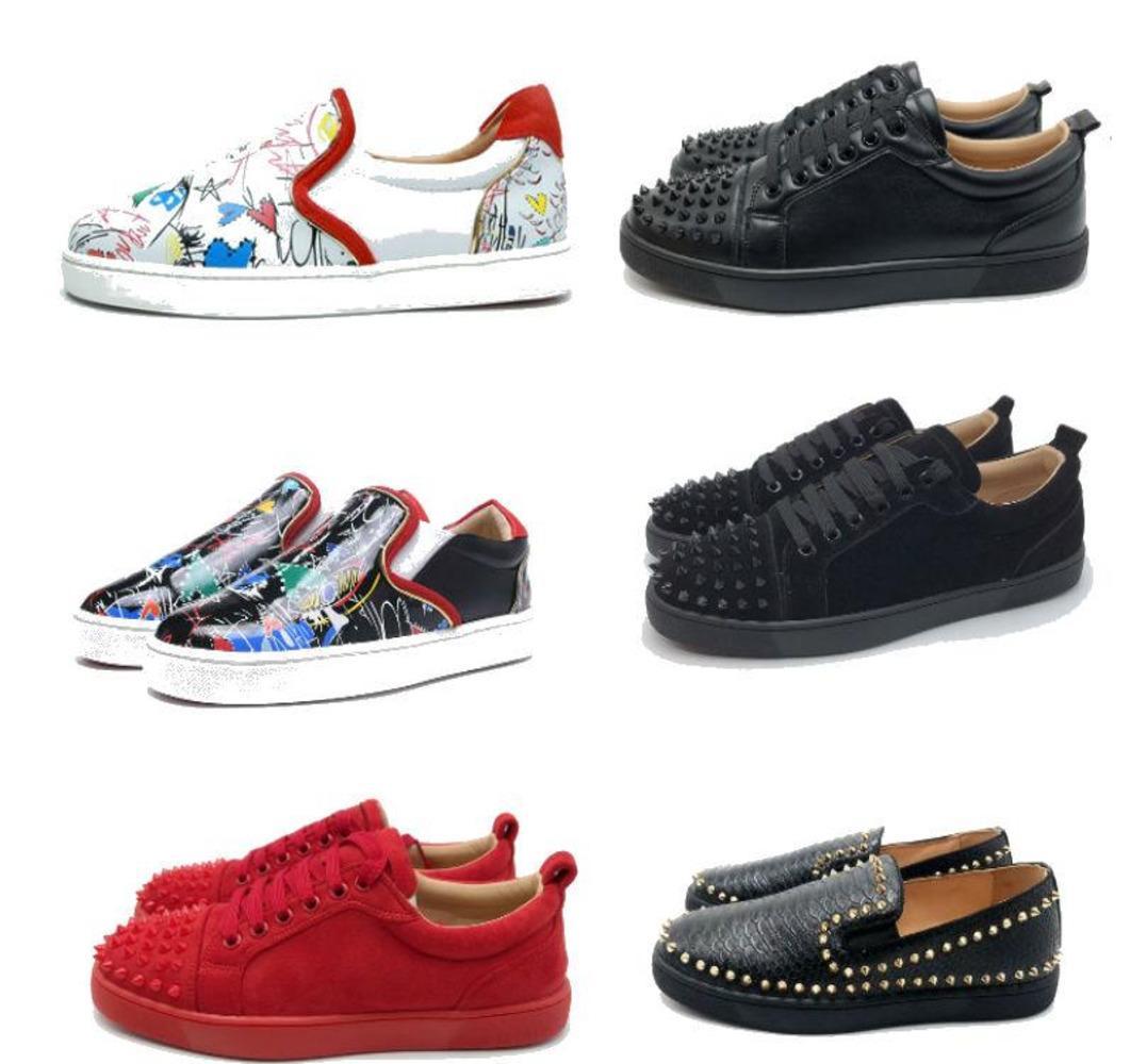chaussures pic fond rouge 2020 dentelle chaussures confusion designer mocassins glisser sur le cuir suedue chaussures casual luxe taille 35-46 avec la boîte