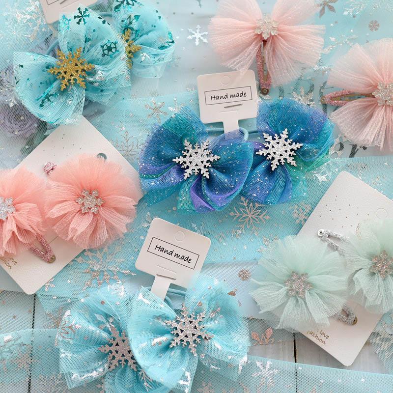 2020 Ins payet dantel saç yay kızlar saç klipleri çiçek prenses Scrunchies kız hairbands bebek BB klip çocuklar saç aksesuarları B1038