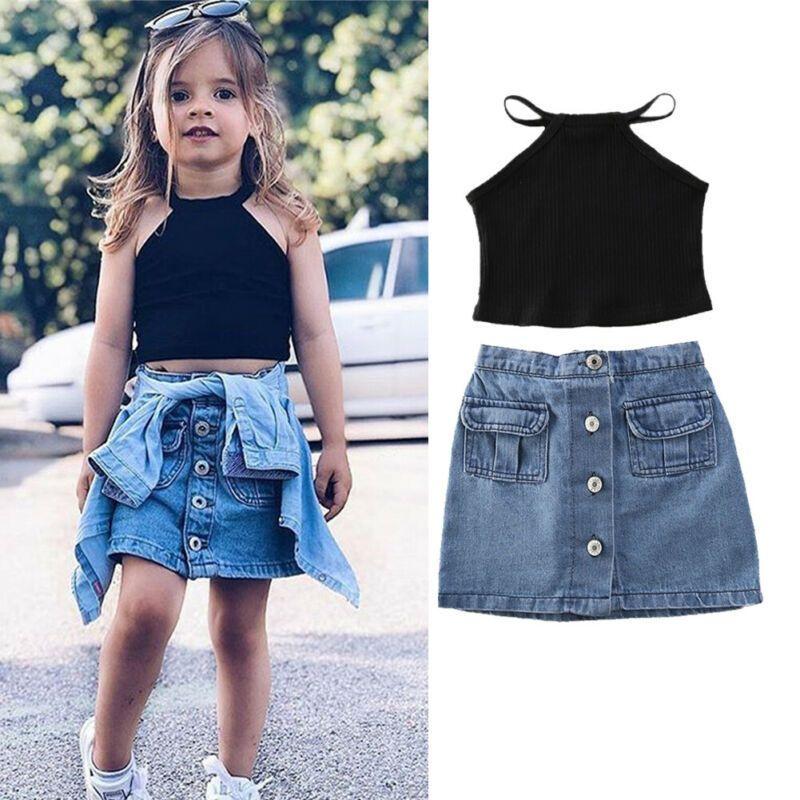 Toddler Baby Kids Girl Summer Clothes Short Sleeve T-Shirt Tops Mini Button Skirt Set Denim Outfits