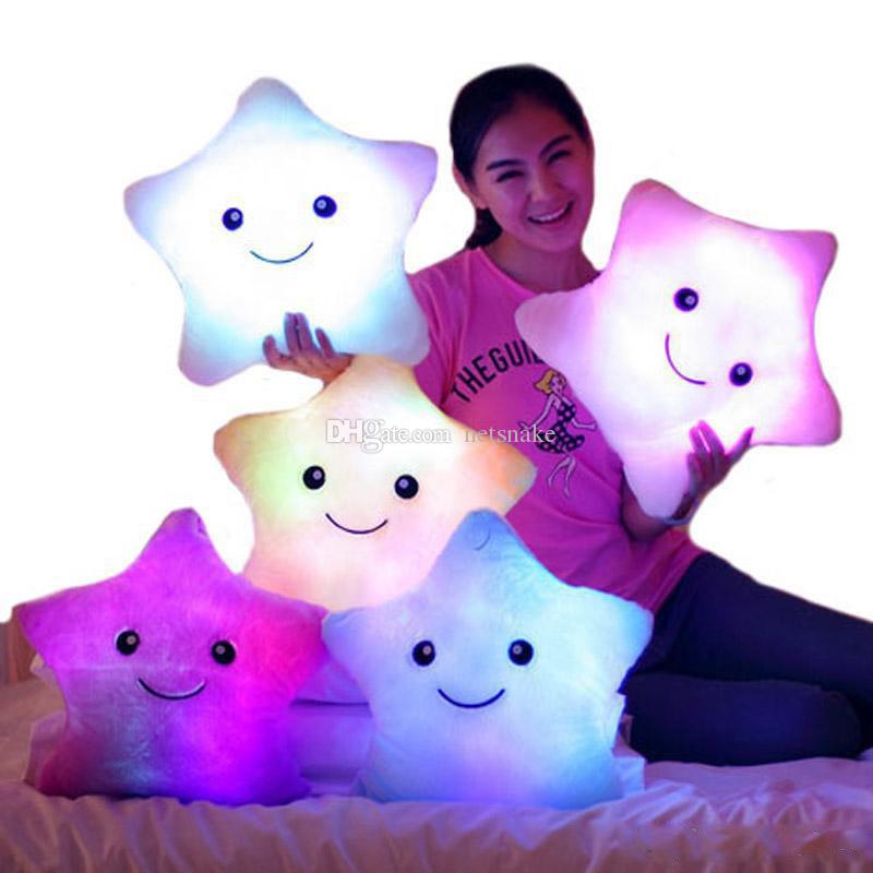 LED ضوء فلاش عقد وسادة الخمس نجوم دمية القطيفة الحيوانات المحنطة اللعب 40CM إضاءة لعبة الأطفال هدية عيد الميلاد هدية القطيفة