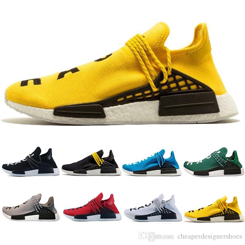 Cheaper New Human Race Hu trail pharrell williams Zapatos para correr Hombres Nerd black cream para hombre entrenador mujer diseñador zapatillas deportivas tamaño 36-47