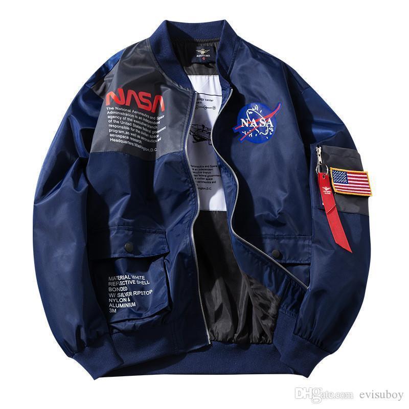 NASA prendas de vestir exteriores de la NASA del vuelo del piloto del bombardero para hombre del diseñador Escudo Chaquetas Hombres Mujeres cazadora de béisbol para hombre del tamaño de la chaqueta M-XXL