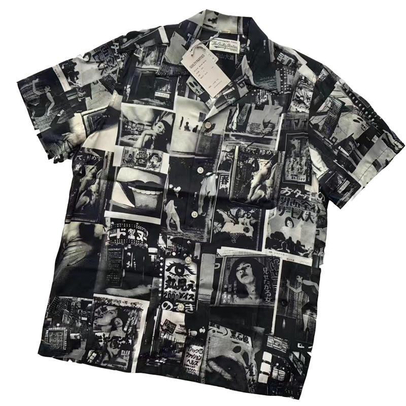 Mens camisetas WACKO MARIA solto camisa de manga curta Cardigan YOHJI Moda Preto solto shirt T-shirt Mulheres Casual Rua M-XL