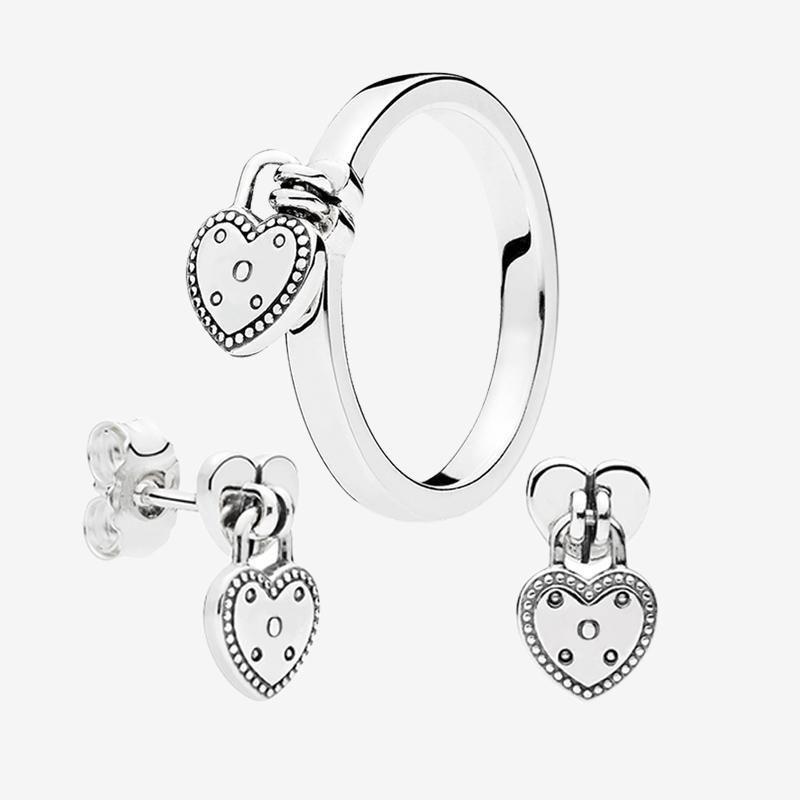 사랑 열 펜던트 반지와 귀걸이 여성을위한 원래 상자 판도라 925 실버 결혼 반지 스터드 귀걸이 설정