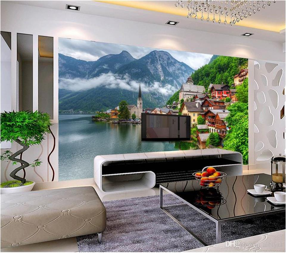 custom size 3d photo wallpaper living room bed room mural beautiful European town 3d picture sofa TV backdrop wallpaper non-woven sticker