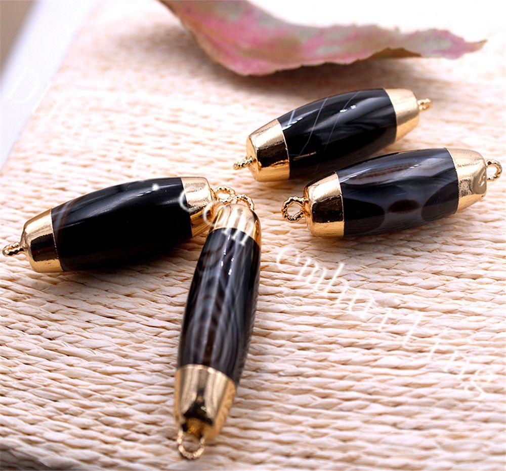 20 Pcs Natural Black Onyx Forma Barril Pingentes Banhado A Ouro Duplo Loop Conectores Ágata Cristal Gemstone Preto Jóias Fazer Suprimentos