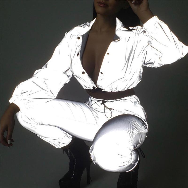 Mulheres street wear reflexivo single breasted snap botão de lapela jaqueta de colheita camisa de suor feminino brilho no escuro jersey WC1732631
