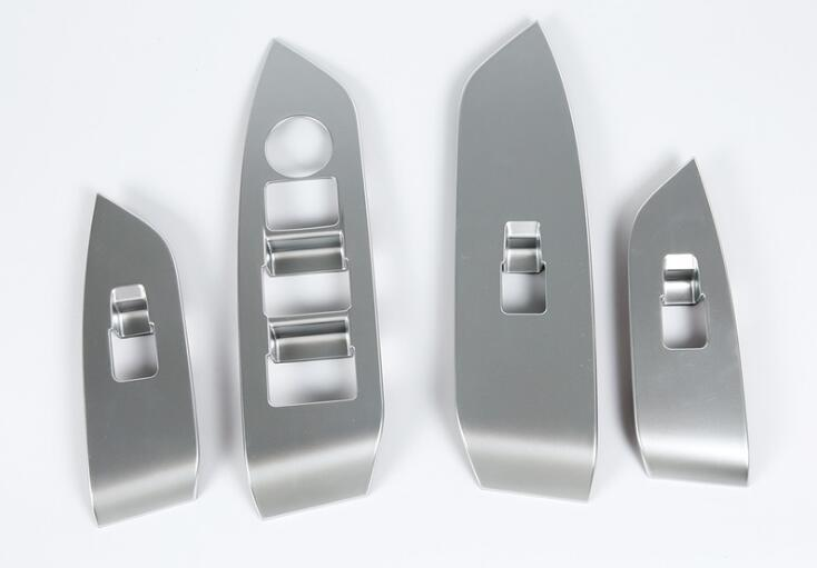 مازدا CX-5 2017 4 PCS ABS الكروم الباب مسند الذراع نافذة زجاج كهربائية زر الإطار الديكور غطاء تريم لزينة السيارات التصميم