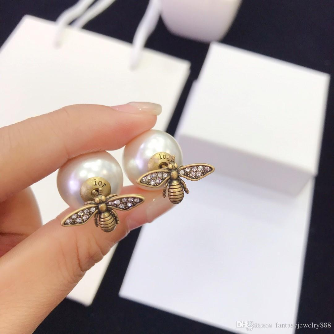orecchini europee e americane donne gioielli orecchini stilista dal design di lusso nuovo ape di perle
