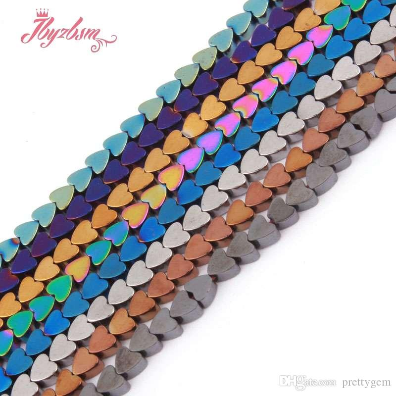 """4mm Black Gold Silver Rainbow Blue Heart Hematite Natural Stone Beads For DIY Necklace Bracelet Jewelry Making 15"""" Free Shipping"""