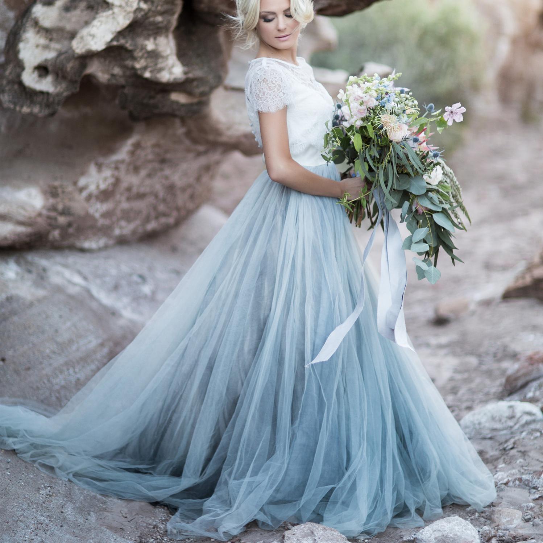 Morandi Mavi Gelinlik vestidos de Noiva Yeni Moda A Hattı mücevher Yaka Kısa Kollu Dantel Tül Gelinlik Gelinlik