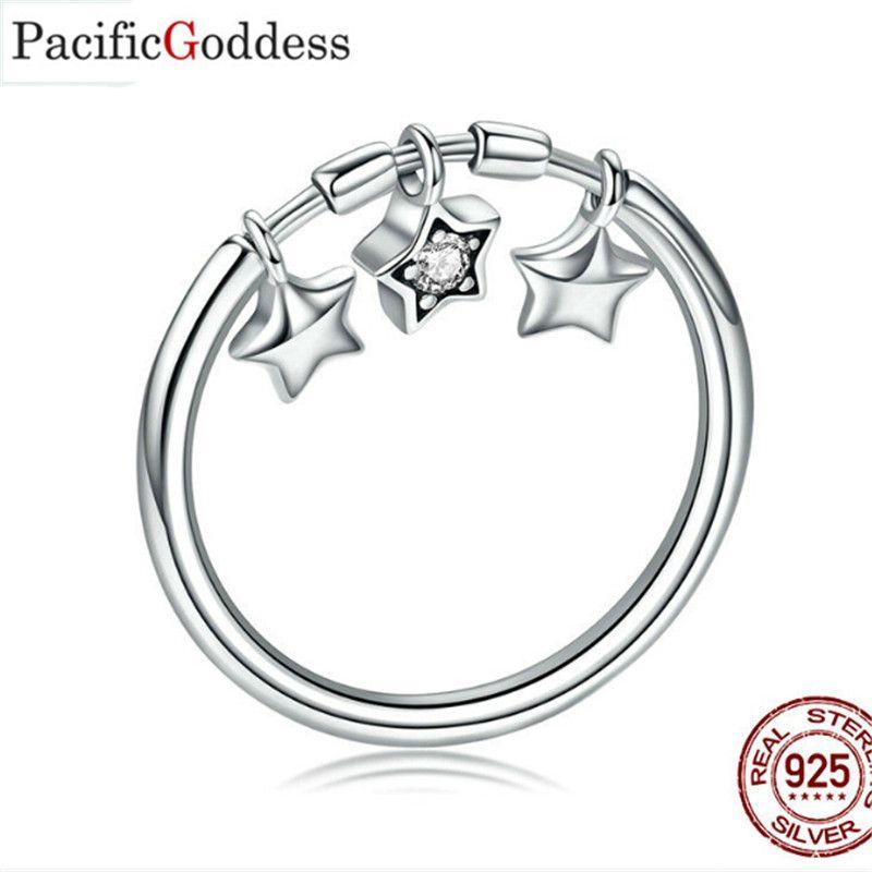 الجنية 925 الموضة الحديثة أسلوب بسيط ورائع خاتم الحب نجمة