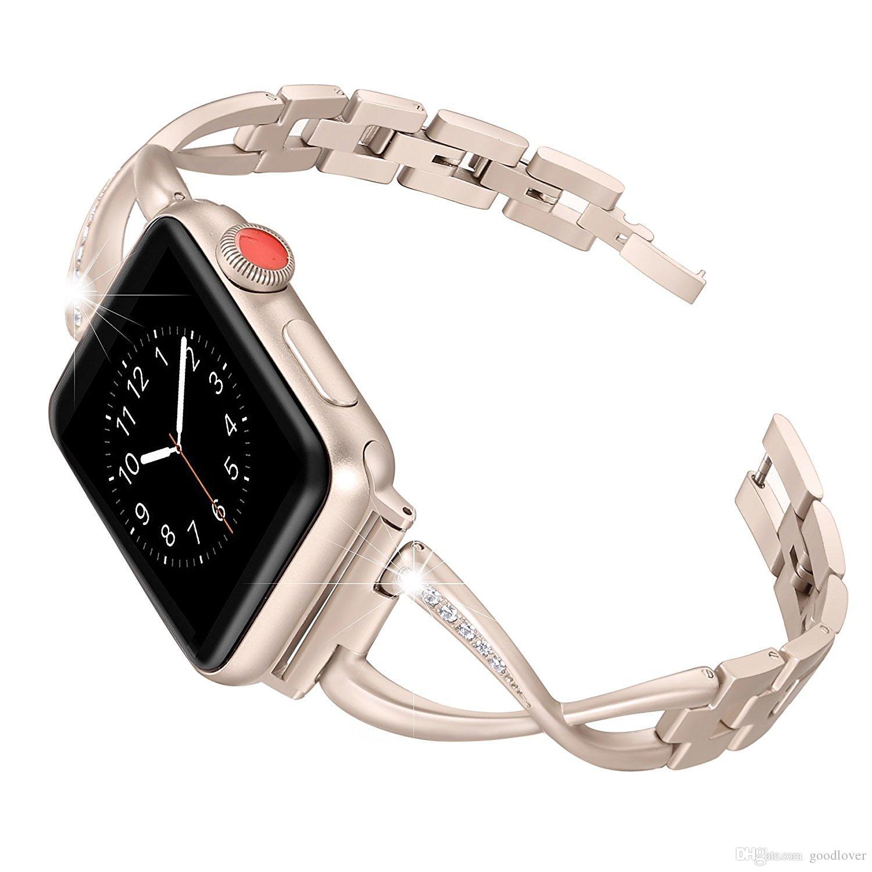 ساعة نسائية بسوار أبل 38 مم / 42 ملم / 40 ملم 44 مم من الفولاذ المقاوم للصدأ لسوار سلسلة iwatch 4 3 2