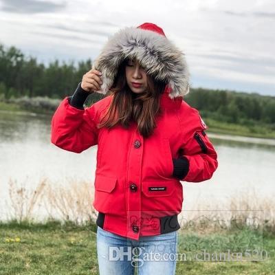 Mulheres Parkas INVERNO CANADA G-Marca Chilliwack-3 parkas para baixo com HOOD / Snowdome jaqueta real lobo Coats Colarinho Branco Duck / GOOSE Casacos