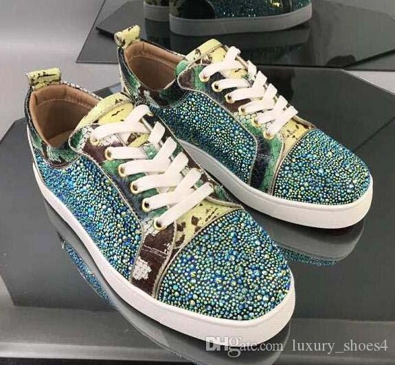 Designer shoes leather fashion graffiti casual vintage shoe Mens Womens red flat bottoms studs luxury glitter diamond shoes Party Lovers O4