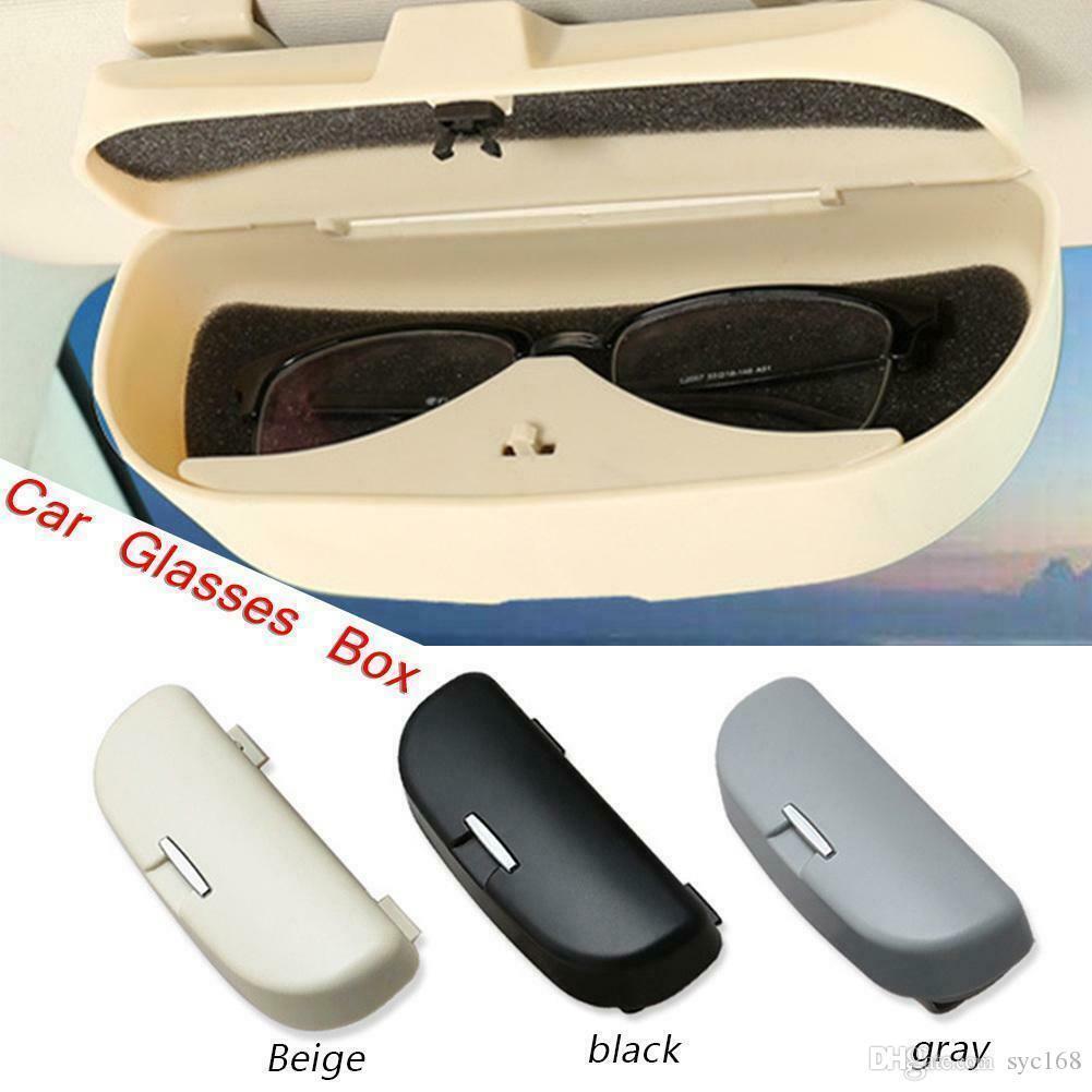 Beige Car Sunglasses Holder Box Glasses Storage Case Glasses Organizer