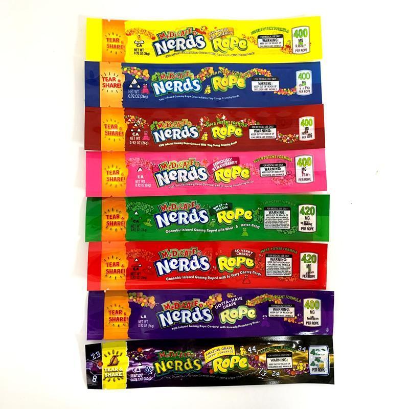 Le plus récent Nerds corde 420 bas d'emballage sacs bonbons Nerdsrope Gummy sac bord d'étanchéité Trois feuille paquet alimentaire
