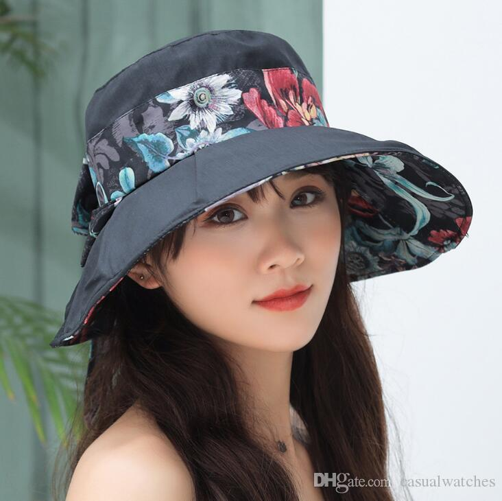Wide Brim Hats 2019 Summer New Dual-Use Cotton Printed Foldable Cap Korean Version of Tthe Bandage Bow Wild Hat