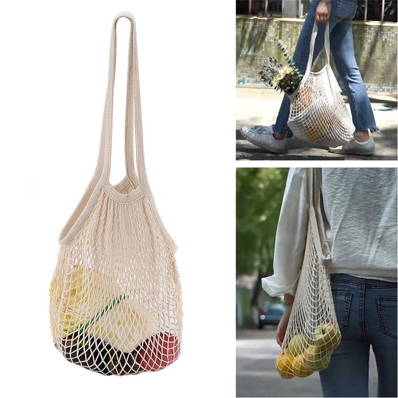 2020 nuevas damas reutilizables de almacenamiento de frutas lineales Tienda de Compra red tejida bolsa de asas del ultramarinos