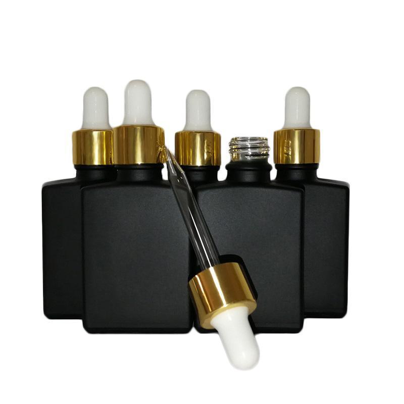 골드 캡과 함께 30 ML 블랙 젖빛 유리 액체 시약 피펫 점 적기는 병 광장 에센셜 오일 향수 병 연기 석유 전자 액체 병