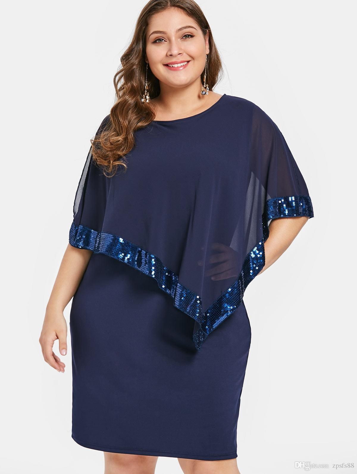 Plus Size Sequin Embellish Overlay Dress Casual Solid Cloak Sleeves Knee  Length Bodycon Party Dress Spring Summer Vestido Gowns Designer Dresses  From ...