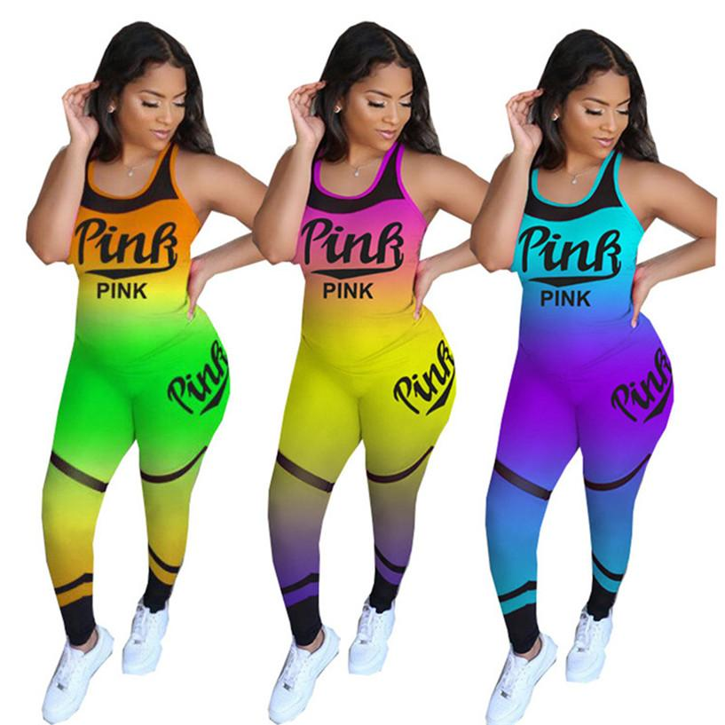 PINK Kadınlar 2 adet Spor Tankı 2960 + Tozluklar Jogger Suit Kazak + Tayt Eşofman Artı boyutu Kıyafetler S-3XL Yaz Giyim Tops ayarlar