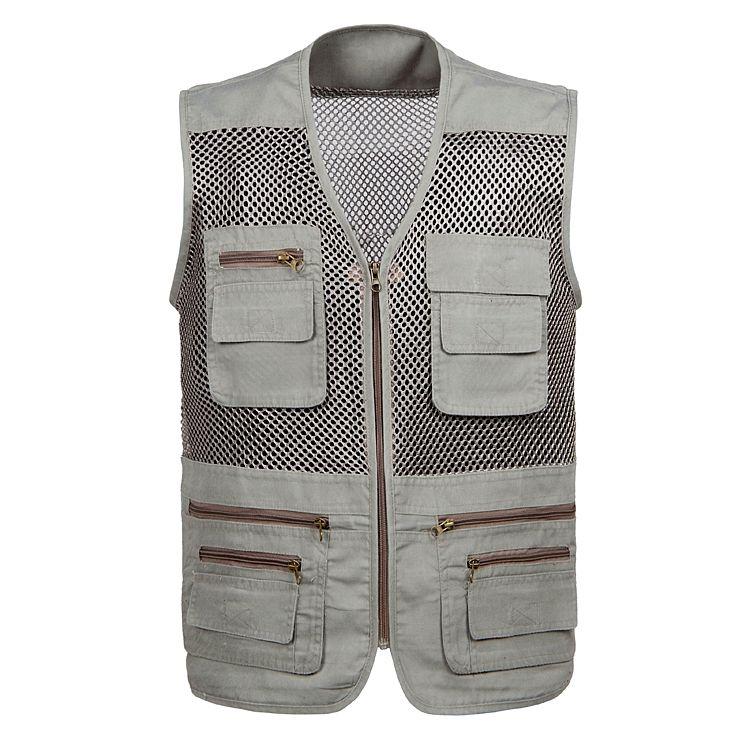 Jacket ao ar livre Multi-bolso rápida secagem viajantes Pesca Masculina Fotografia Vest