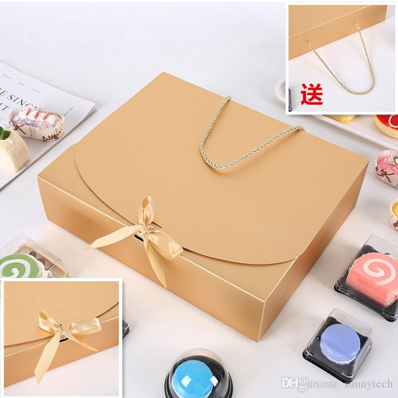 31cmx26cmx8cm Grande boîte-cadeau d'or avec des vêtements écharpe corde emballage couleur papier boîte avec la boîte d'emballage ruban Sous LX2363