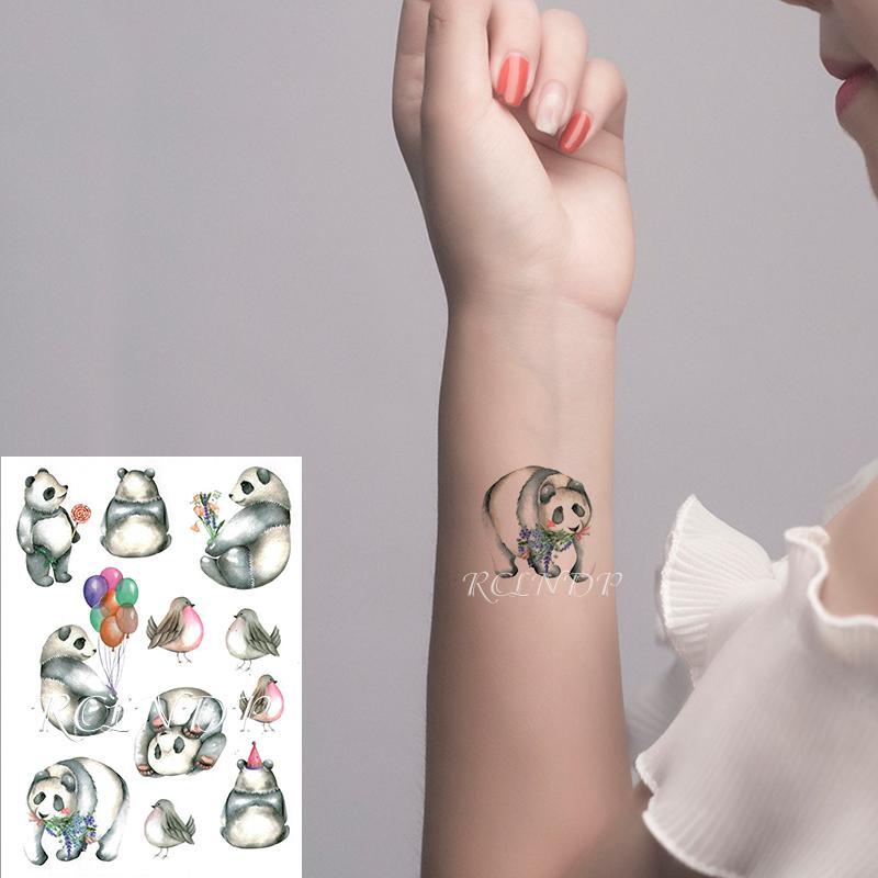 Étanche tatouage temporaire autocollant Cartoon Panda oiseaux Bolloon Lollipop Faux Tatto flash Tatoo bras jambe Art pour Femmes Hommes