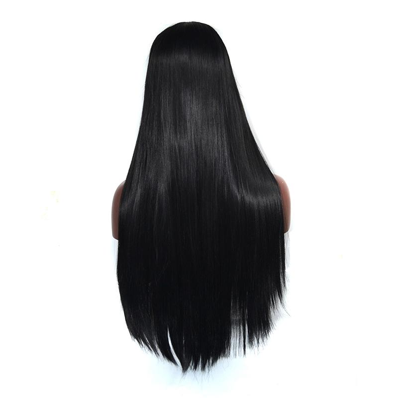 Longue ligne droite synthétique Lace Wig perruque de dentelle de fibre synthétique résistant à la chaleur pour les femmes soyeux droite noir couleur synthétique perruque de dentelle