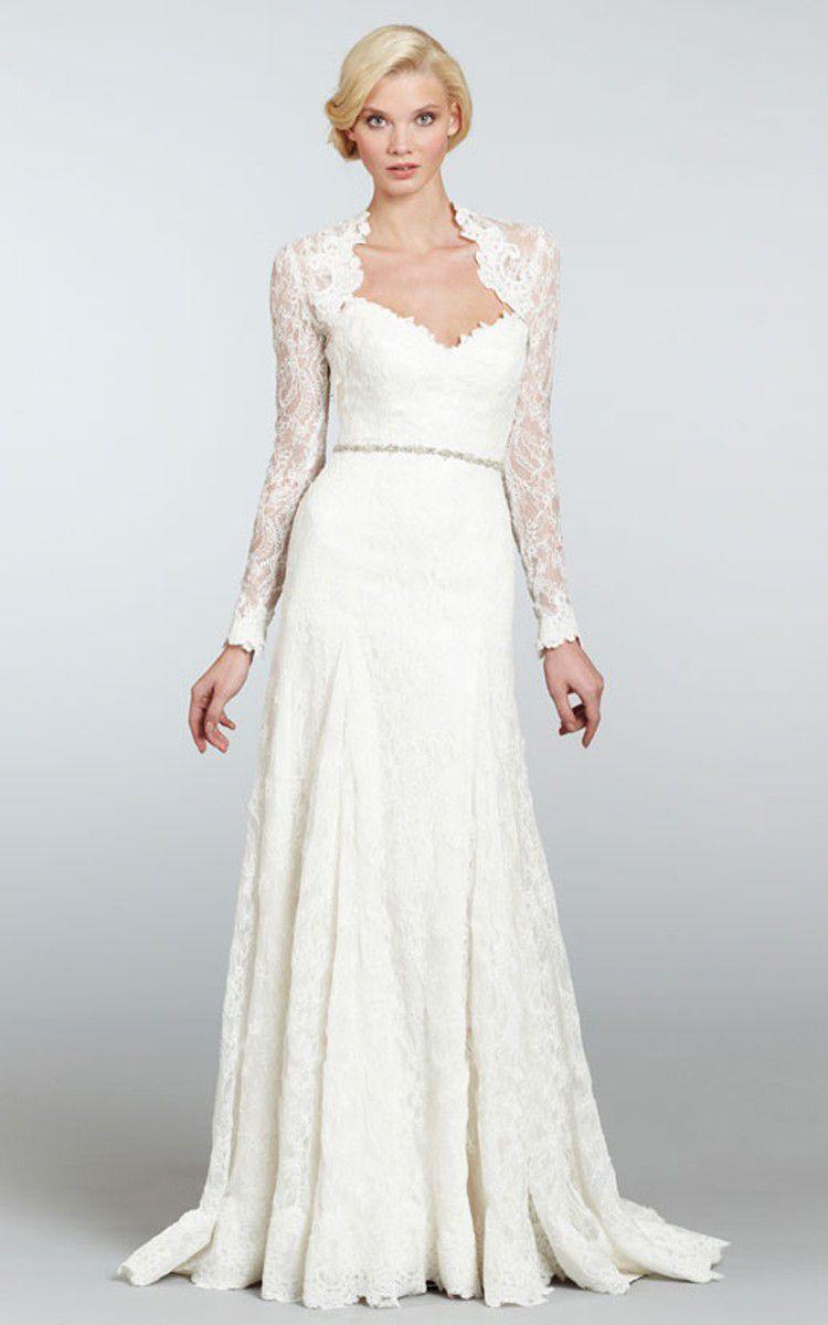 Lace wedding Dress with Detachable Long Sleeves Lace Bolero robe de mariée vestido de casamento BBG039