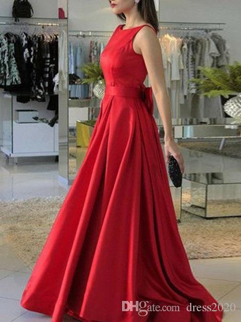 New Arrival 2020 Prom vermelhas com bowknot tanque A-Line Satin Backless mulheres formal Vestidos Vestido Mãe